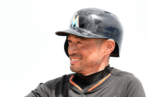 JUPITER, FL - MARCH 11:  Ichiro Suzuki #51 of the Miami Marlins reacts to a base hit during the second inning of a spring training game against the New York Mets at Roger Dean Stadium on March 11, 2015 in Jupiter, Florida.  (Photo by Stacy Revere/Getty Images)